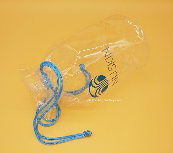 Cylinder Transparent PVC Drawstring Organizer Pouch For Comstics , Personal Belongings