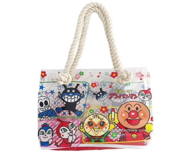 Waterproof Vinyl Beach Bags Summer Beach Tote Bags PVC Shopping Bags with Canvas Ropes Handles